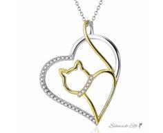 Anhänger Katze Cat Love aus 925 Silber Zirkonias mit...