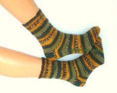 Hand knitted wool socks Warm elegant colorful striped stylish bright womens unisex socks from sock yarn Christmas Gift Yellow brown green