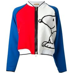 FAY 'Snoopy' varsity jacket ($935) ❤ liked on Polyvore featuring outerwear, jackets, varsity style jacket, letterman jacket, red letterman jacket, stand collar jacket and zip front jacket