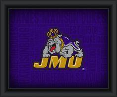 "James Madison University ""College Logo Plus Word Clouds"" - 15 x 18 Framed Print"