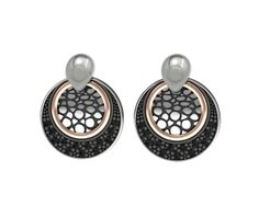 925/000 Sterling Silver Earring Pink 18k. Gold Black Spinels Price : $528.39 #BohemmeJewelry