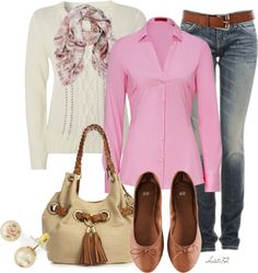 """Casual Pink"" by christa72 on Polyvore. White Sweater, Pink Button up, Brown Belt & Flats.  Tan Purse.  Blue Jeans.  Pink Print Scarf."