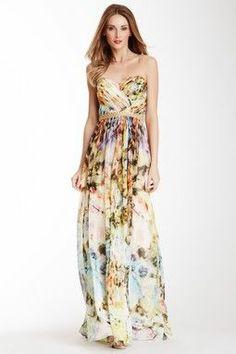 La Femme Printed Sweetheart Gown