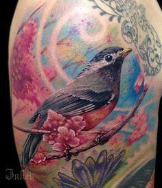 """Bird tattoo by Jose """"Mota"""" Ortega #InkedMagazine #bird #flower #floral #tattoo #tattoos #inked #ink"""
