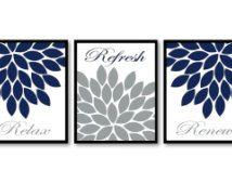 Bathroom Wall Decor Navy Blue White Grey Chrysanthemum Flower Print Set of 3 Relax Refresh Renew Art Print Bedroom Modern Minimalist