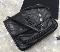 350e17e29d1c2 Saint Laurent Large Monogramme Niki Chain Bag in Black Vintage Crinkled  Leather 498894