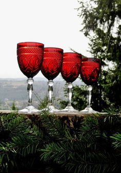 Vintage Cris D'Arques Durand Antique Ruby Red Wine-Water Goblets - Set of 4, $50.00 on etsy.com