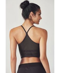 Fabletics Sports Bra Marcela Mesh Midi Womens Black