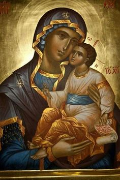 The Blessed Mother of God Religious Pictures, Religious Icons, Religious Art, Byzantine Icons, Byzantine Art, Greek Icons, Russian Icons, Blessed Mother Mary, Mary And Jesus