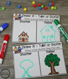 Measurement Worksheets Shorter or Taller Measurement Activity for Kindergarten math. Measurement Kindergarten, Measurement Worksheets, Kindergarten Math Activities, Math Games, Teaching Math, Learning Activities, Teaching Spanish, Numeracy Activities, Gym Games