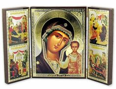 Virgin of Kazan with Feast Days Icons,  Foldable Triptych