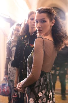 Bella Hadid seen behind-the-scenes of the Legends and Fairy Tales fashion show.