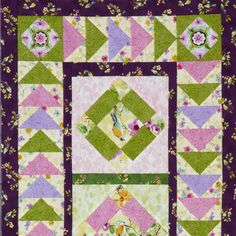 Showcase fussy-cut bird designs in uneven Nine-Patch blocks and frame them with Flying Geese units in a tabletop quilt. Fabrics are from the Skylark collection from Red Rooster Fabrics.
