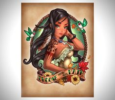 Disney Princesses as Tattooed Pin-Up Girls. There's Belle, Pocahontas, Cinderella, Tiana, Tinkerbell, Aurora, Snow White, Alice, Jasmine, and Ariel. They're all so great!