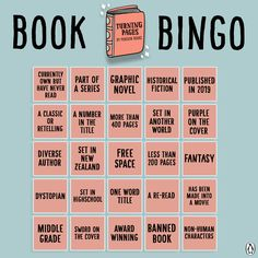 Turning Pages Book Bingo! - Penguin Books New Zealand / YA Reading Challenge Book Club Books, Book Lists, Good Books, Books To Read, My Books, Book Clubs, Book Challenge, Reading Challenge, Book Memes