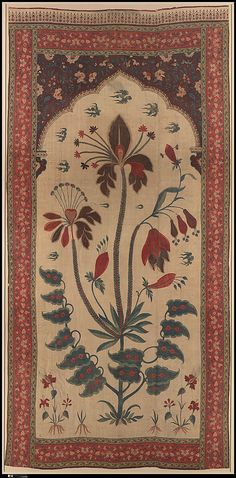 C India, Deccan 'Iris Flowers' panel from a tent lining (Qanat), . The Metropolitan Museum of Art, New York. Textile Design, Textile Art, Indian Flowers, Red Flowers, Indian Textiles, Antique Quilts, Panel Art, Metropolitan Museum, Islamic Art