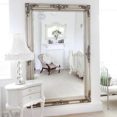 Classic Ornate Silver Mirror - Love the french furniture and the gold mirror within the white decor. Antique french decor makes my - Shabby Chic Spiegel, Shabby Chic Mirror, Shabby Chic Decor, Shabby Chic Living Room, Shabby Chic Homes, Shabby Chic Furniture, French Furniture, Japanese Furniture, Classic Furniture