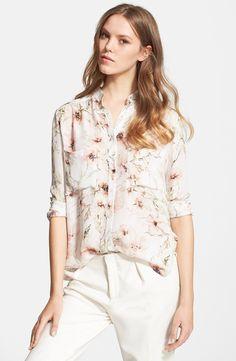 Draped High/Low Floral Print Silk Shirt