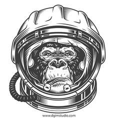 Vector Serigrafia In the space. Gorilla in the astronaut helmet. Astronaut Drawing, Astronaut Illustration, Astronaut Tattoo, Monkey Illustration, Gorilla Tattoo, Vector Design, Vector Art, Mordecai Y Rigby, Astronaut Helmet