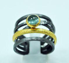 Sterling silver black rhodium gold plated by silverjewelrygr green semi precious stone handmade in Greece Greek jewelry crossover ring