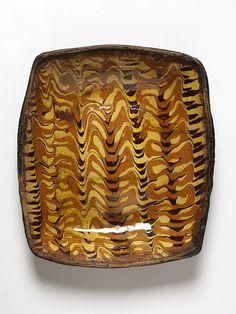 english slip trailed lead glazed dish..1700-1800.