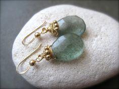 ❥ Moss Aquamarine Drop Earrings~ on a white stone