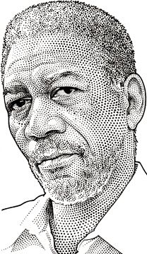Wall Street Journal portrait (hedcut) of Morgan Freeman Dotted Drawings, Pencil Drawings, Art Drawings, Black And White Drawing, Black Art, Amazing Drawings, Amazing Art, Stippling Art, Portrait Sketches