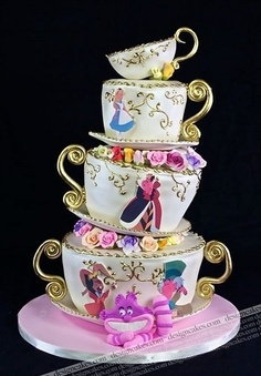 "Disney-inspired cake. Could do this with actual dishes  cement glue for a ""Alice in Wonderland"" table theme"