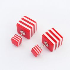 Wholesale Jewelry European and American fashion stud earrings for women 2015 vintage Colorful lines small cube earrings