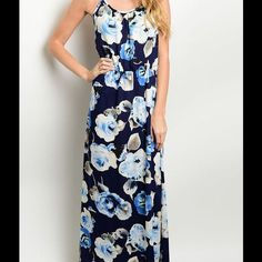 NAVY FLORAL MAXI DRESS!! Beautiful Navy Maxi Dress with a pretty Floral print. Elastic waist. Sizes S, M, L available. 100% Rayon. Only NAVY available. These are NEW, but vendor does not put a tag on it. No trades. Dresses Maxi