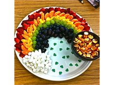 "St. Patrick's Day Fruit Rainbow with a ""Pot of Gold"""