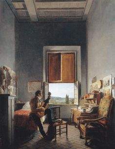 Jean Alaux, Louis Vincent Palliere in His Room at the Villa Medici (1817)