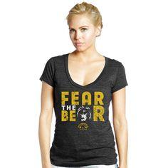 Boston Bruins Majestic Threads Women's Local Vintage Tri-Blend V-Neck T-Shirt - Black - $26.39
