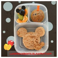 Mickey Mouse cheese quesadilla on whole wheat tortillas, blueberry muffin & fruit.