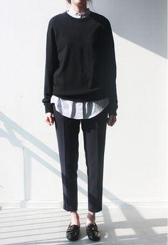 striped shirt, black sweater, black bottoms, black loafers/oxfords