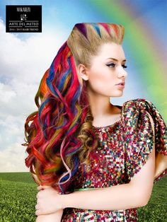 Rainbow Twist is an Haute Couture look featuring hidden color blocking technique and sectioned styling to create the crown of the hair style, and a mysterious side of a colorful wavy look with big waves from top to bottom, created by using Makarizo EXO perming product.
