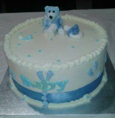 Baby blue shower cake