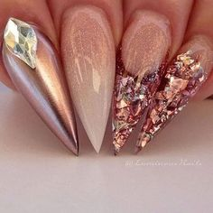 Glittered Ombre and Silver Jewel Encrusted Nails Crazy Nail Designs, Elegant Nail Designs, Nail Art Designs, Rose Gold Nails, Diamond Nails, Diamond Nail Designs, Luminous Nails, Nail Polish Crafts, Sculptured Nails