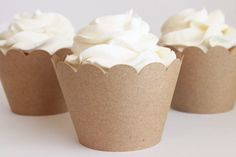 Kraft Paper Cupcake Wrappers Cupcake Birthday Party Cupcake Liners Brown Kraft Paper Muffin Cups Shabby Chic Wedding Country / Set of 12