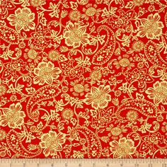 Kanvas Bohemian Rhapsody Metallic Tapestry Floral Burnt Orange 6419-22