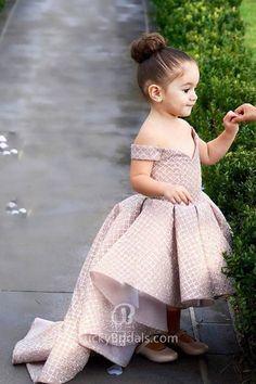 Glitter blushing pink flower girl dress for wedding. Off-the-shoulder V neckline high-low flower girl dress.