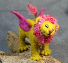 Manicore - needle felted  I love flying pigs, why not a flying lion?