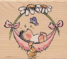 Penny Black stamps feature high quality images in red rubber with a 1/8-inch foam pad for maximum transfer. This stamp features a 'Baby Hammock' design. Theme: Baby Hammock Wood mounted rubber stamps