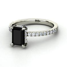 But with a black diamond >> Emerald-Cut Black Onyx 14K White Gold Ring with Diamond   Reese Ring   Gemvara