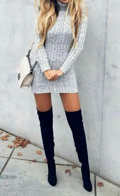 Loving this look for fall! thigh high black heeled boots, ivory handbag, grey turtle neck sweater dress
