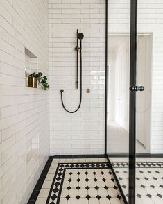 From the tessellated tile floor, to the spacious double shower with floor-to-ceiling glass in a black steel surround,… Bathroom Plans, Modern Bathroom, Small Bathroom, Guest Bathrooms, Bathroom Inspo, Master Bathroom, Bathroom Design Software, Bathroom Interior Design, Double Shower