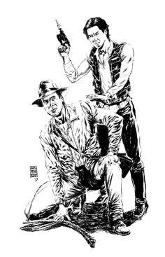 Indiana Jones vs. Han Solo by Jun Bob Kim Comic Art