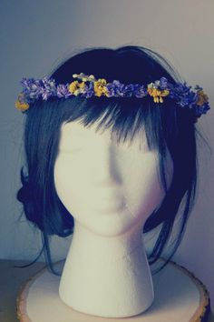 Purple And Yellow Natural Flower Crown/Halo by FlickerBelles, $30.00