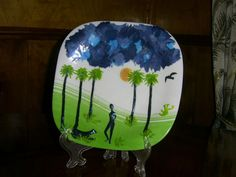 """Decorative Wall Plate """"Africa"""" made of polymer clay Interior decoration"""