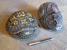 Gallery of Painted Rocks - Lin Wellfords Rock Paintingb We paint rocks at our house... these are especially cool!